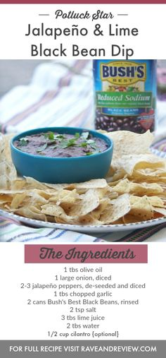 Want your putluck contribution to disappear? Bring this jalapeno and lime black bean dip! #MyBestWithBushBeans