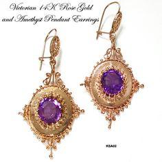 Antique Amethyst Jewelry | Antique Victorian 14 Karat Rose Gold & Amethyst Pendant Earrings
