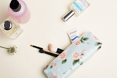 Floral Pattern Blossom Pencil Pouch. You can use this as slim cosmetic pouch!