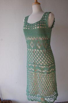 Crochet Dress Motif in Sage Green Cotton Size by LoyesThread, $80.00