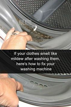 Here's how to get that mildew smell out of clothes and towels. If they come out of the washing machine (whether its a front loader or not) and smell like mildew, these brilliant tips and hacks will have your laundry smelling fresh. Deep Cleaning Tips, Household Cleaning Tips, Toilet Cleaning, House Cleaning Tips, Diy Cleaning Products, Cleaning Solutions, Spring Cleaning, Cleaning Hacks, Cleaning Vinegar