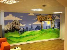 Client: Privax graffiti interior - #graffiti #design #interiordesign #office #skyline #handpainted #bespoke #custom #london