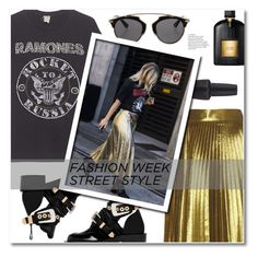 """""""NYFW Street Style"""" by sunshineb ❤ liked on Polyvore featuring Balenciaga, MadeWorn, Christian Dior, OPI and Tom Ford"""