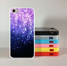 Purple Glitter iphone 4 case,  iphone 4s case,iphone 5 case Silicon Rubber cover skin case for iphone 4/4g/4s case