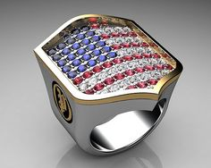Unique Mens Ring American Shield Ring Sterling Silver and Gold with White Gems By Proclamation Jewelry