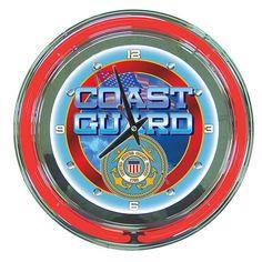 Trademark Commerce MIL1400-USCG United States Coast Guard Neon Clock - 14 inch Diameter