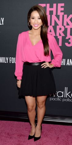 Brenda Song (in Alice + Olivia top, Robert Rodriguez skirt and Jimmy Choo shoes)