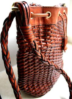 etsy vintage woven leather bag $17