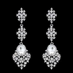 Details about Red Chandelier Earrings Silver Long Drop CZ Bridal ...