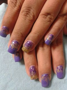 My Purple and gold nails for new year 2014