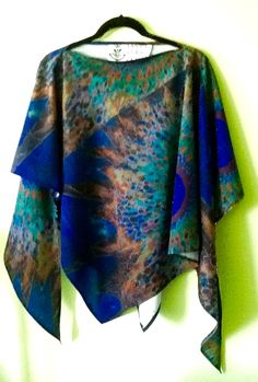 """Night Time Moon"" poly silk poncho one size"