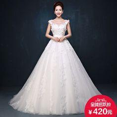 婚纱礼服 新款2015新娘孕妇婚纱定制大码齐地一字肩拖尾婚纱 冬季