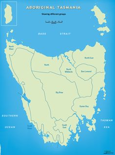 The tribal areas of the Tasmanians
