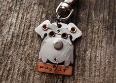 Keychain ID Tag - Schnauzer.  Copper and Aluminum - Custom Rivets Stamped with dog's name by PoochTags @ Etsy