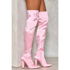 The Zero Tolerance Boot comes in satin and features a block heel, inside zip closure, almond toe, and over-the-knee design. Fancy Shoes, Pretty Shoes, Cute Shoes, Thigh High Boots, High Heel Boots, Heeled Boots, Pink Knee High Boots, Pink Boots, Sexy Boots