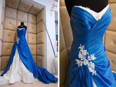 http://dyal.net/blue-and-white-wedding-dresses White and Blue Wedding Dress - Love it!