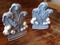 vintage syroco bookends . hand painted . chalk paint . custom color contrast combination . french scroll . floral modern elegant decor . #morethanpaint #chalkpaint