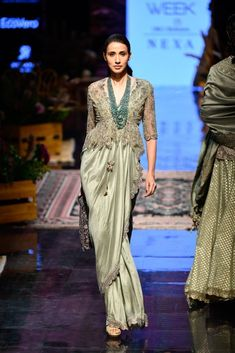 Sage green cocktail lehenga by Jayanti Reddy. Click on picture to see lehenga price. #Frugal2Fab