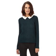932298233b H! by Henry Holland Dark green knitted collar jumper- at Debenhams.com Henry