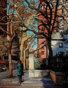 "Daily Paintworks - ""Morning in Manhattan"" - Original Fine Art for Sale - © Jonelle Summerfield"