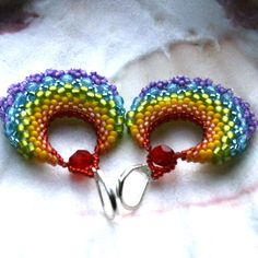 Rainy bow - beautifull toho seed beads rainbow colours beaded hoop earrings