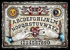 CREEP HEART OUIJA BOARD PRINT - Add some mystical elements to your office wall with this Ouija Board print by Ella Mobbs. This high quality print is signed by the artist and comes in a protective cellophane sleeve with cardboard backing. Tatto Skull, Witch Board, Dark And Twisty, Haunted Dollhouse, Retro Tattoos, Traditional Tattoo Flash, Halloween Miniatures, Theme Halloween, Harry Potter