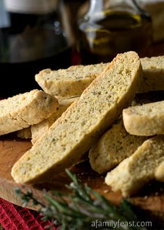Olive Oil & Herb Savory Biscotti - A delicious savory biscotti that is perfect served as an appetizer or alongside a fresh garden salad. Crispy and delicious!