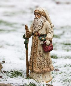 Gold Overcoat Santa Figurine