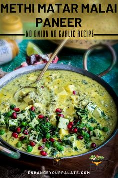 No onion no garlic recipe for creamy and luscious Methi Matar Mala Paneer white gravy curry packed with goodness of fenugreek leaves, nuts, peas and paneer. Indian Beef Recipes, Goan Recipes, Paneer Recipes, Garlic Recipes, Vegetarian One Pot Meals, Vegetarian Curry, Vegetarian Recipes Easy, Indian Soup, Curry Dishes