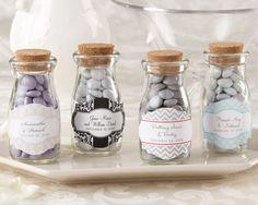 """Vintage"" Personalized Milk Favor Jar (Wedding) (Set of 12)  www.bizzybeegiftbasket.com"