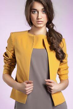 Veste jaune Tailleur Femme moutarde Courte Chic Boléro Z02 Nife 36 38 40 42 44