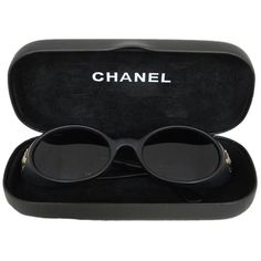 Pre-owned Chanel 05976 90405 Cc Logo Black Sunglasses W/ Case ($272) ❤ liked on Polyvore featuring accessories, eyewear, sunglasses, glasses, fillers, black, chanel eyewear, logo glasses, logo sunglasses and chanel sunglasses