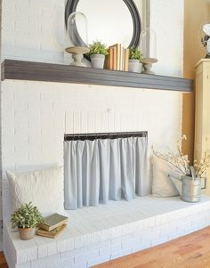 Diy Fireplace Curtain Creative And Simple Way To Cover A Opening Farmhouse