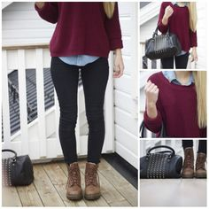 From Cape Cod Collegiate. Marroon sweater, jean button up, leggings, boots.