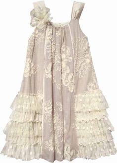 Isobella & Chloe Girls Creme Brulee Vintage Sleeveless Dress - Taupe