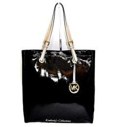 6228d76c8727 MICHAEL KORS Black Patent Leather Shoulder Travel Tote Bag Purse NWT