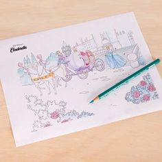 Brighten up this scene by adding color to Cinderella and her carriage.