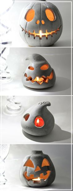 I love these concrete Halloween lanterns. I wouldn't even color them or maybe one or two. They look awesome with the candle lights. #ad #concrete #halloweendecor #pumpkin #lantern #spooky #homedecor #cement #etsy #halloween