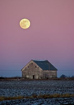 Moon over a barn in Fairfield Iowa.