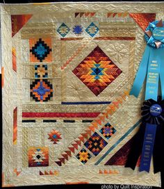 On these winter days in the northern hemisphere, we're looking to the southwestern United States for some warm and sunny inspiration! Here are highlights of quilts with a southwestern theme.Quilt Shows / Gail Garber DesignsKayenta Formation by Ann Peterse Quilting Projects, Quilting Designs, Quilting Ideas, Southwestern Quilts, Indian Quilt, Star Quilt Patterns, Crochet Patterns, Quilt Modernen, Sampler Quilts
