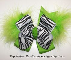 Zebra Lime Green Marabou Hair Bow