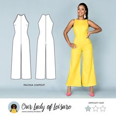 Palazzo Jumpsuit for Beginner Sewing Paloma // Wide Leg Jumpsuit Pattern. Palazzo Jumpsuit for Dress Sewing Patterns, Clothing Patterns, Paper Patterns, Pattern Sewing, Vintage Patterns, Vintage Sewing, Fabric Sewing, Skirt Patterns, Sewing Box