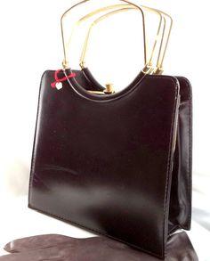 Luxurious 60s France NOS Brown Handbag kelly ART by MushkaVintage3