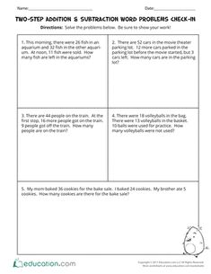 Test your third graders' subtraction and addition skills with this multi-step word problem worksheet. This exercise will assess students' abilities to solve two-step addition and subtraction word problems with mixed operations. Word Problems 3rd Grade, Time Word Problems, 3rd Grade Words, Fraction Word Problems, Third Grade, Math Problems, Grade 2, Math Subtraction, Math Multiplication