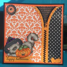 """ONECRAZYSTAMPER.COM: Happy Halloween by OCSDT Aaemie using High Hopes Stamps new release High Hopes """"Scary Kitty"""" SS009UM"""