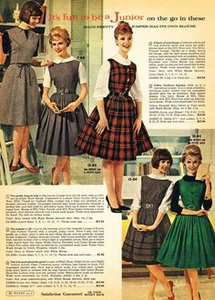 The Swinging Sixties : The 1958 Spring/Summer Sears Catalog late era day dress office school matching sweater full skirt pencil red white pink black plaid floral models magazine print ad 1950s Fashion Teen, Vintage Fashion 1950s, Mode Vintage, Retro Fashion, Fashion Black, Fashion Fashion, Fashion Ideas, Vintage Dresses, Vintage Outfits