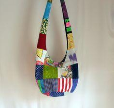 Patchwork Hobo Bag Upcycled Tshirt Patterned Sling by 2LeftHandz