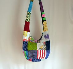 Patchwork Hobo Bag Upcycled Tshirt Patterned Sling by 2LeftHandz