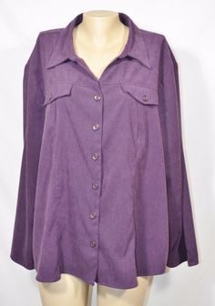 L.A. BLUES Purple Microsuede Shirt/Jacket 30/32W Long Sleeves Button-Front #LABlues #ButtonDownShirt #Casual