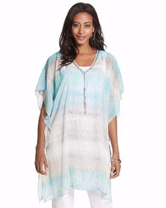 "NEW CHICO'S $119 Dreaming Python Caftan Cool Multi Sheer 30"" Womens Top NWT #Chicos #Caftan #Casual"
